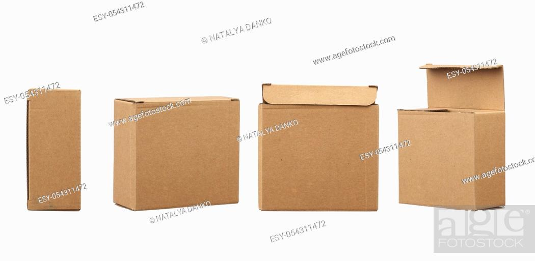 Stock Photo: closed and open brown square cardboard box for transporting goods isolated on white background. Packaging design, set.