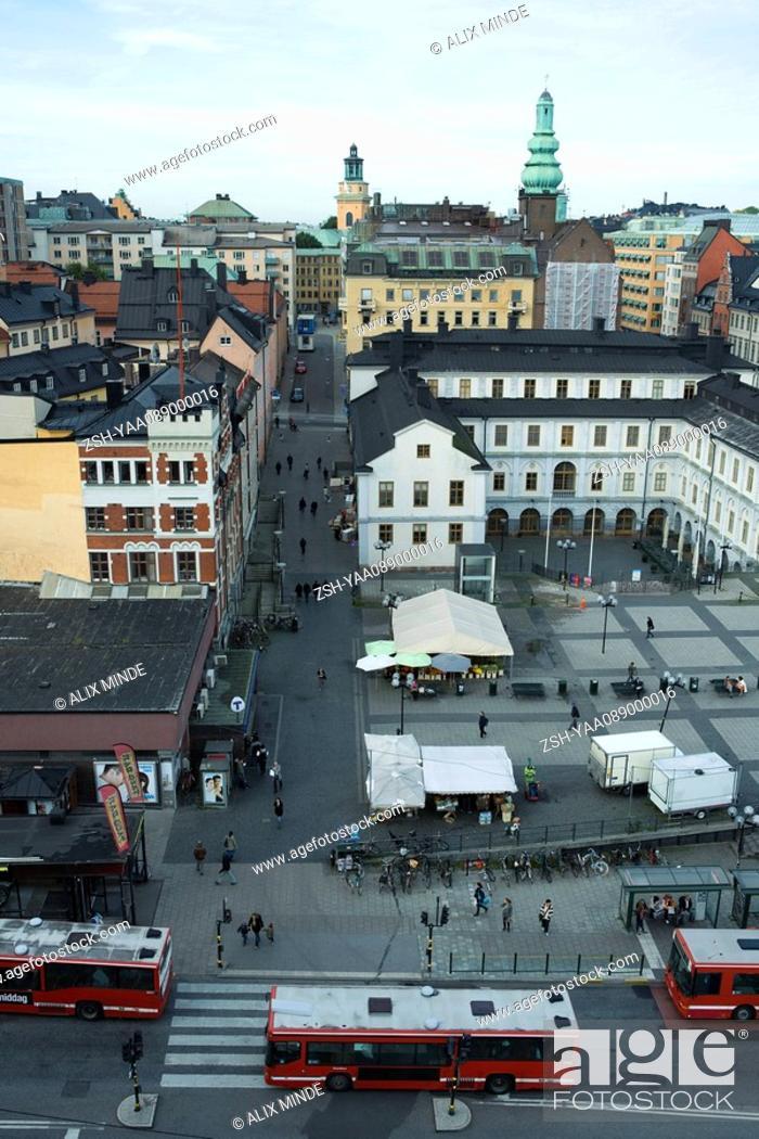 Stock Photo: Sweden, Stockholm, Slussen, Rysstorget Square, elevated view.