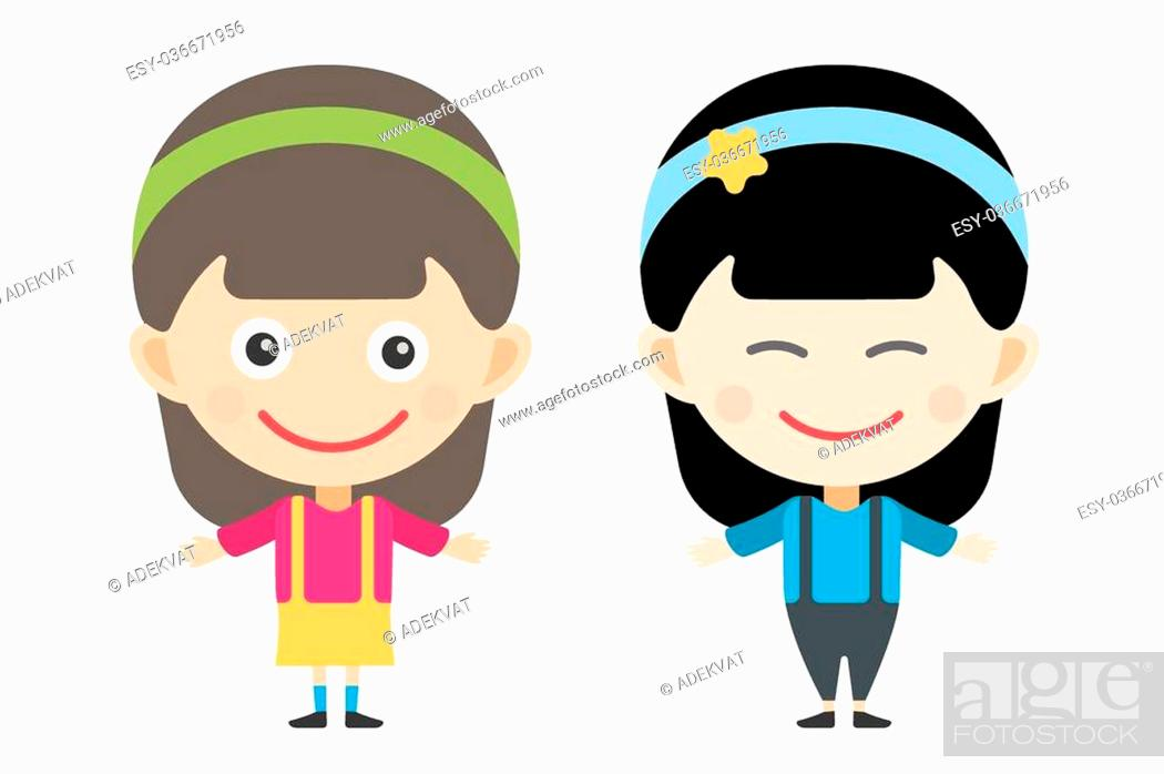 d673a5697 Stock Vector - Japanese and indian cartoon vector girls in different  costumes. Girls characters countries of the world, dress girls in national  costumes.