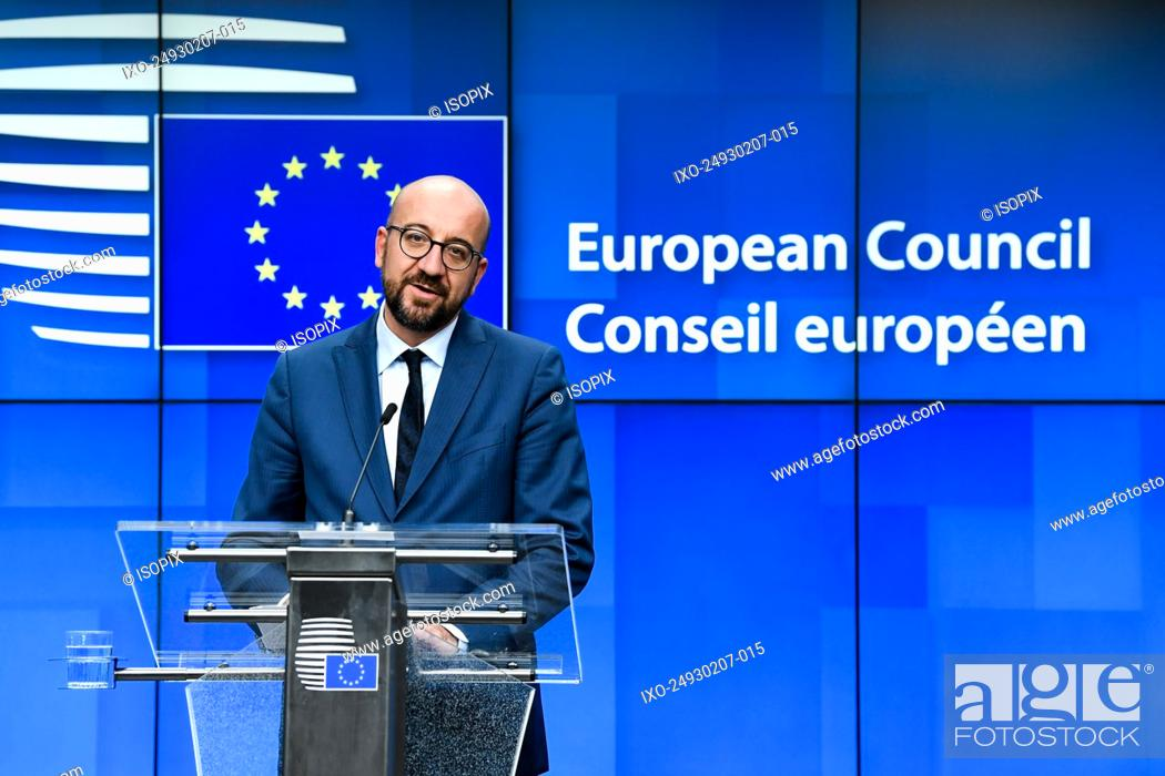 Stock Photo: Belgium Brussels , 02/07/2019 Press conference by the new European council president Charles Michel at the Special European Council.