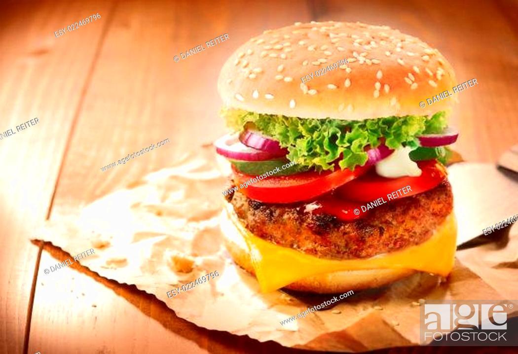 Stock Photo: Delicious cheeseburger.