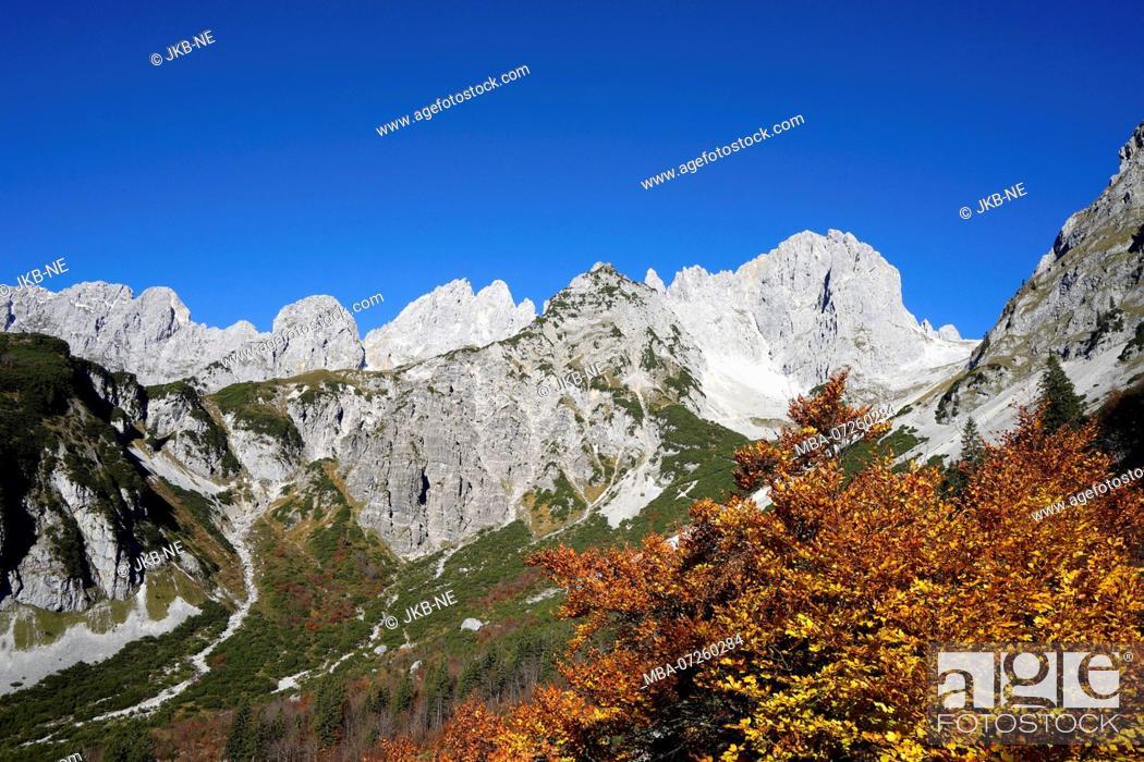 Stock Photo: Austria, Tyrol, Wilder Kaiser, Treffauer, Ellmauer Halt, Karlspitze, Ellmauer Tor, landscape.