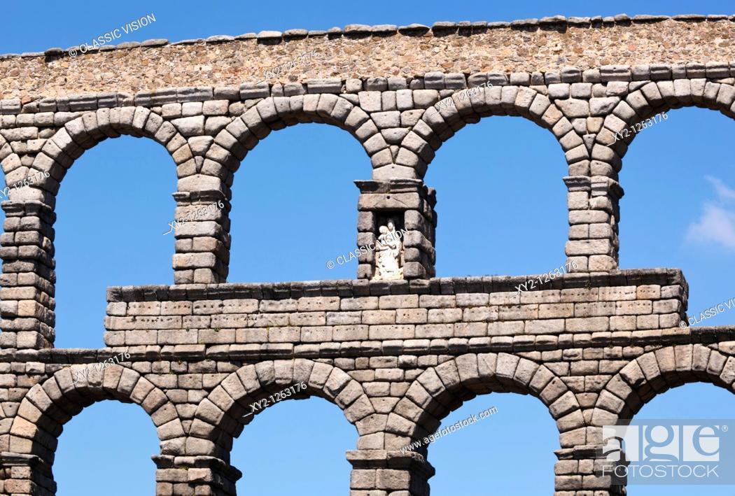 Stock Photo: Segovia, Segovia Province, Spain  The Roman aqueduct  UNESCO World Heritage Site.