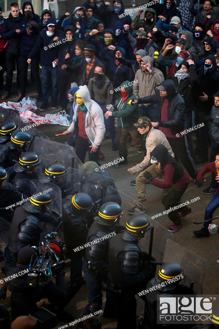 Riot scenes for the new upcoming movie 'Bastille Day' being