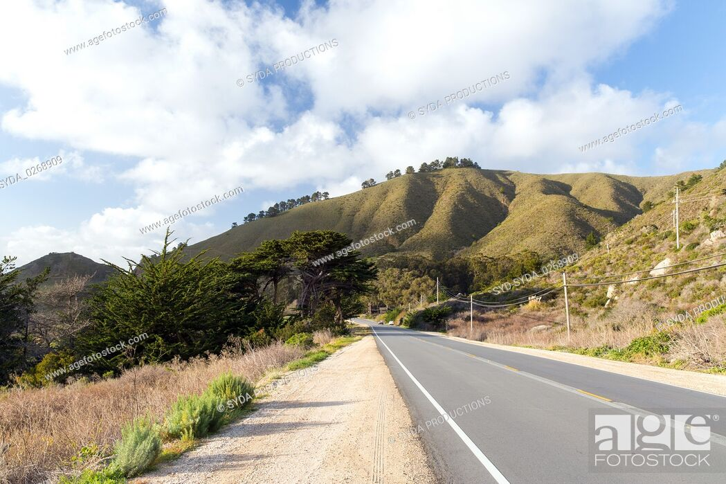Stock Photo: view of road at big sur coast in california.