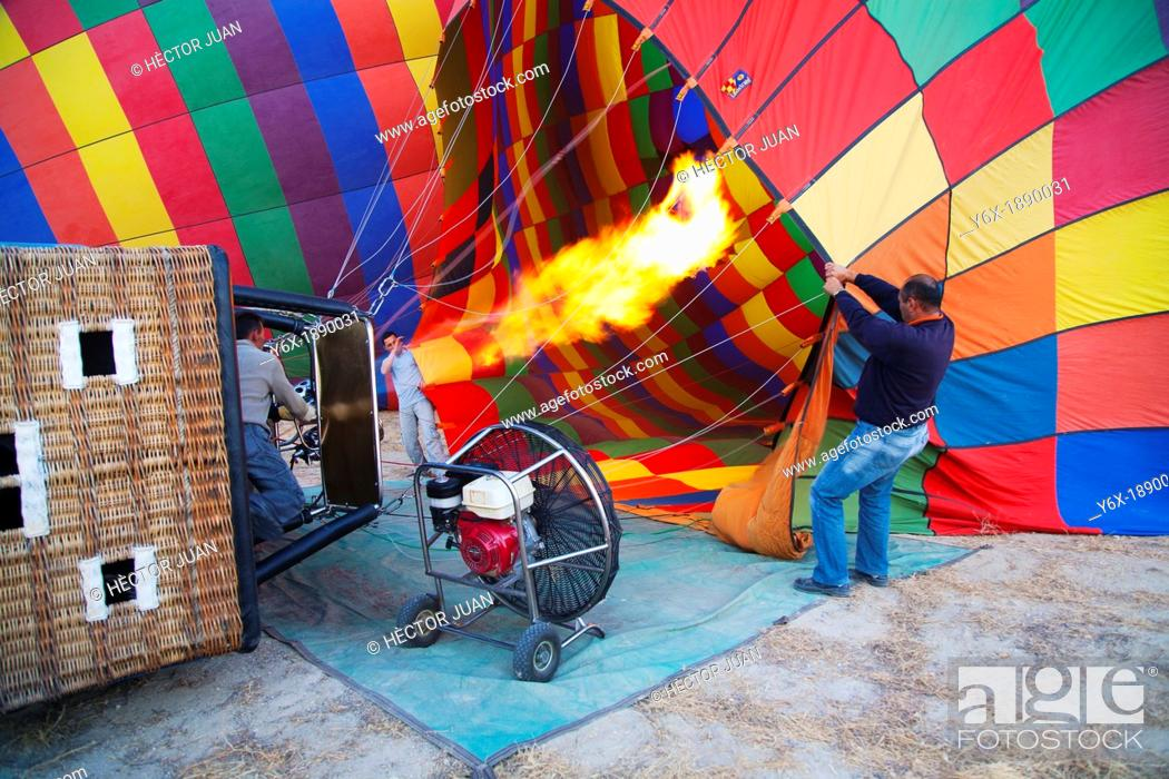 Stock Photo: hot air balloon blow-up.