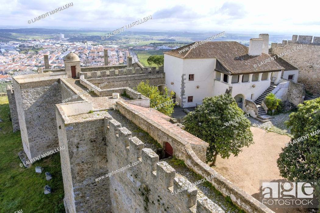 Stock Photo: The Castle walls overlooking the city of Elvas, Garrison Border Town of Elvas and its Fortifications, Portalegre District, Alentejo Region, Portugal, Europe.