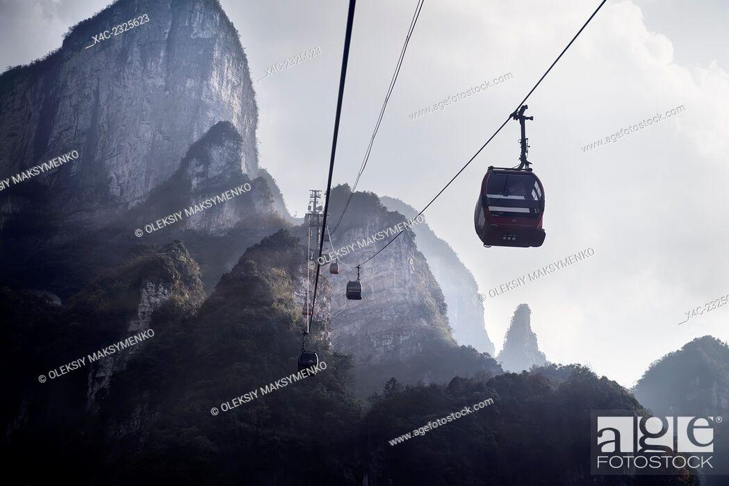 Stock Photo: Tianmen Mountain Cableway cable cars in Zhangjiajie, Hunan, China 2014.