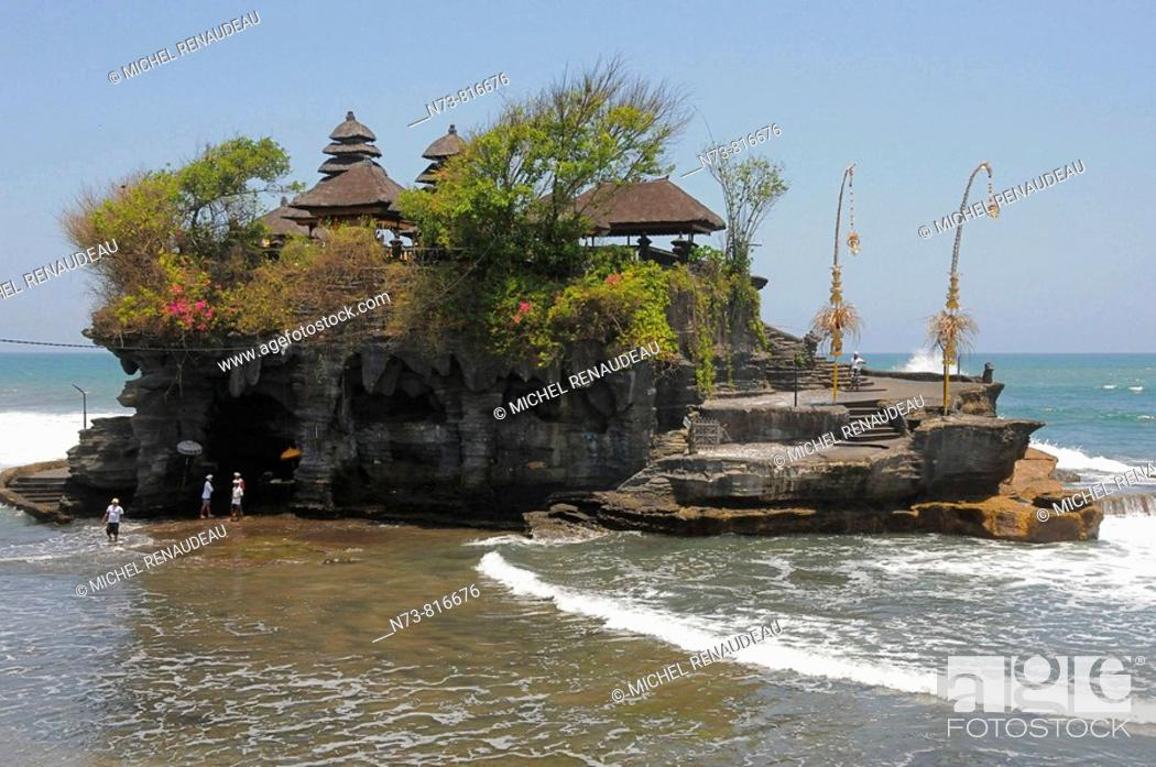 Stock Photo: Pura Tanah Lot temple founded by the 15th century priest Danghyang Nirartha, Bali, Indonesia.
