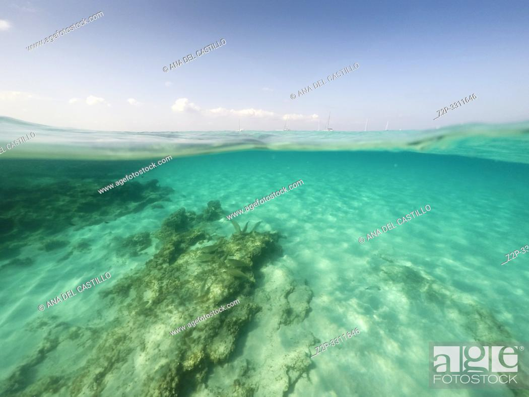 Stock Photo: Underwater the turquoise water in El Calo de San Agusti Formentera island Balearics Spain.