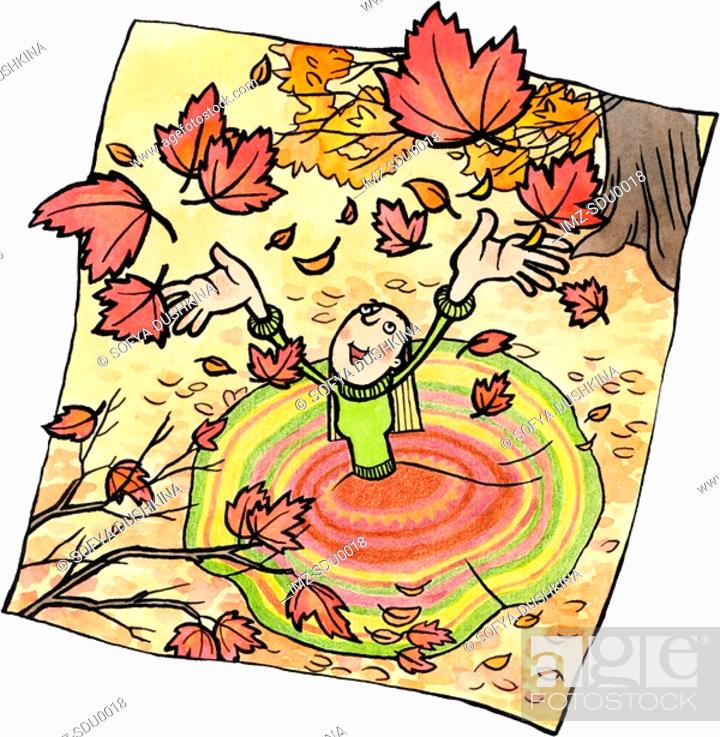 Stock Photo: A woman throwing autumn leaves into the air.