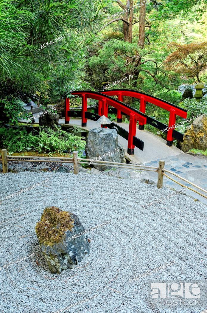 Japanese zen garden and red bridge, Butchart Gardens