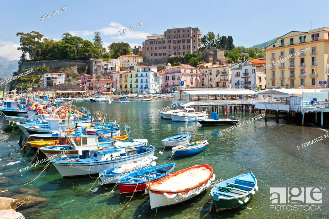 Stock Photo: Colorful fishing boats in the bay in Sorrento, Campania, Italy.