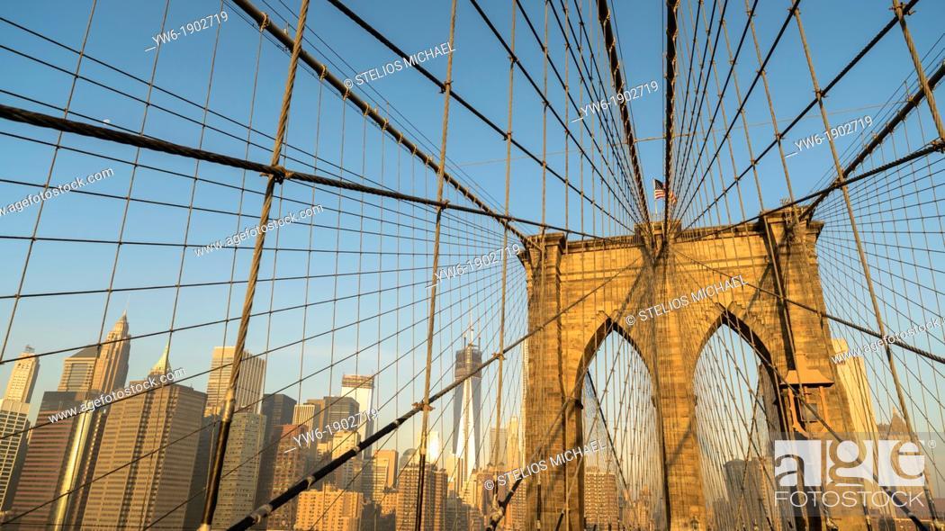 Stock Photo: Brooklyn Bridge with Lower Manhattan Skyline, New York City, USA.