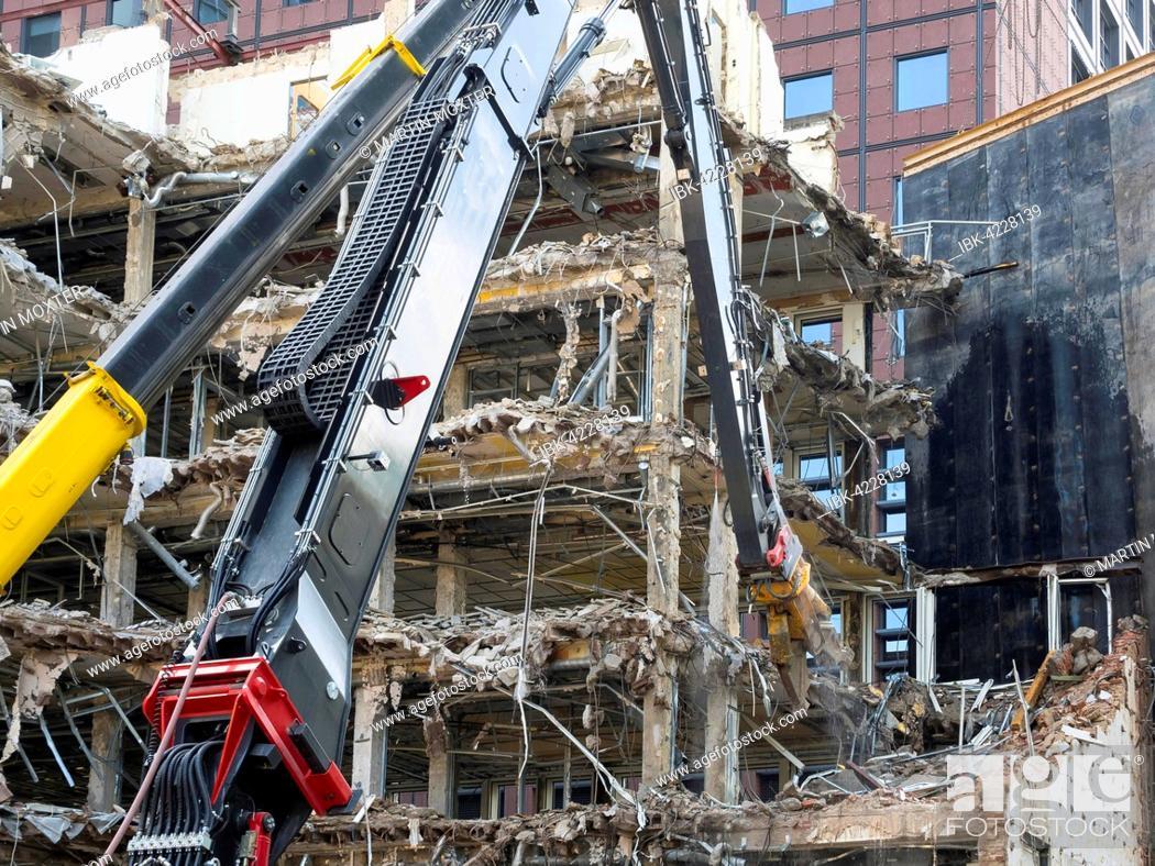 Stock Photo: Demolition of a skyscraper, excavator, Frankfurt am Main, Hesse, Germany.