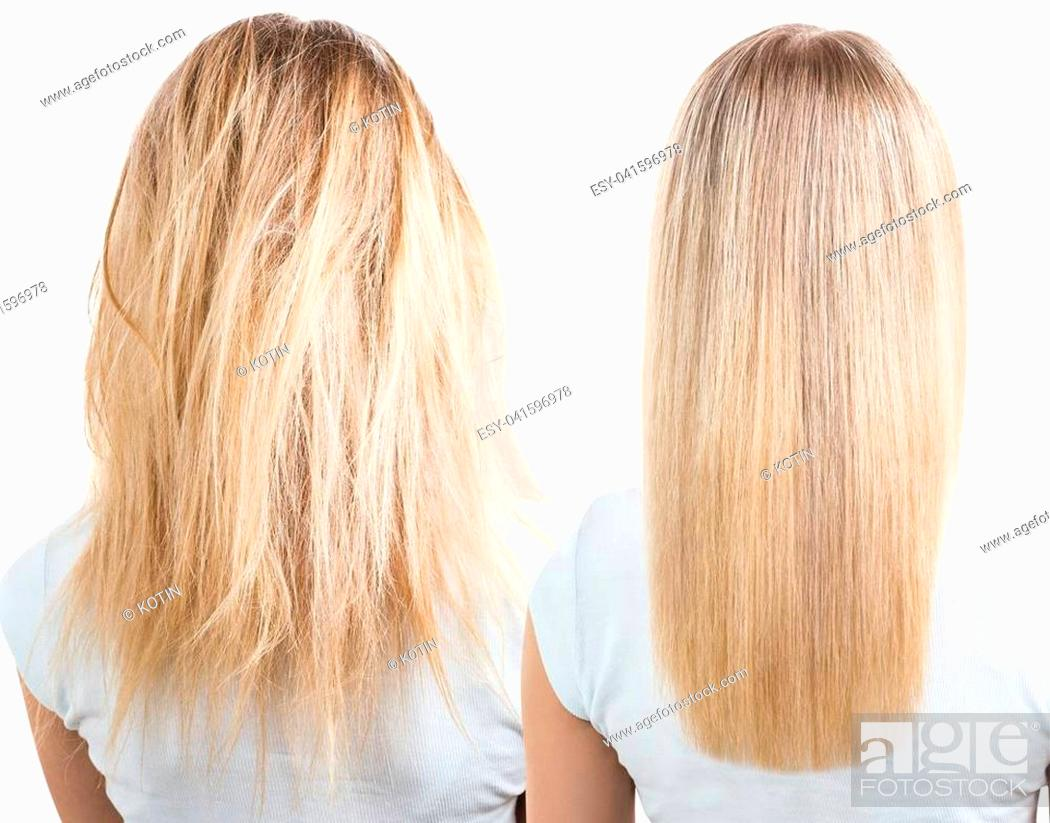 Imagen: Blonde hair before and after treatment. Isolated and white background.