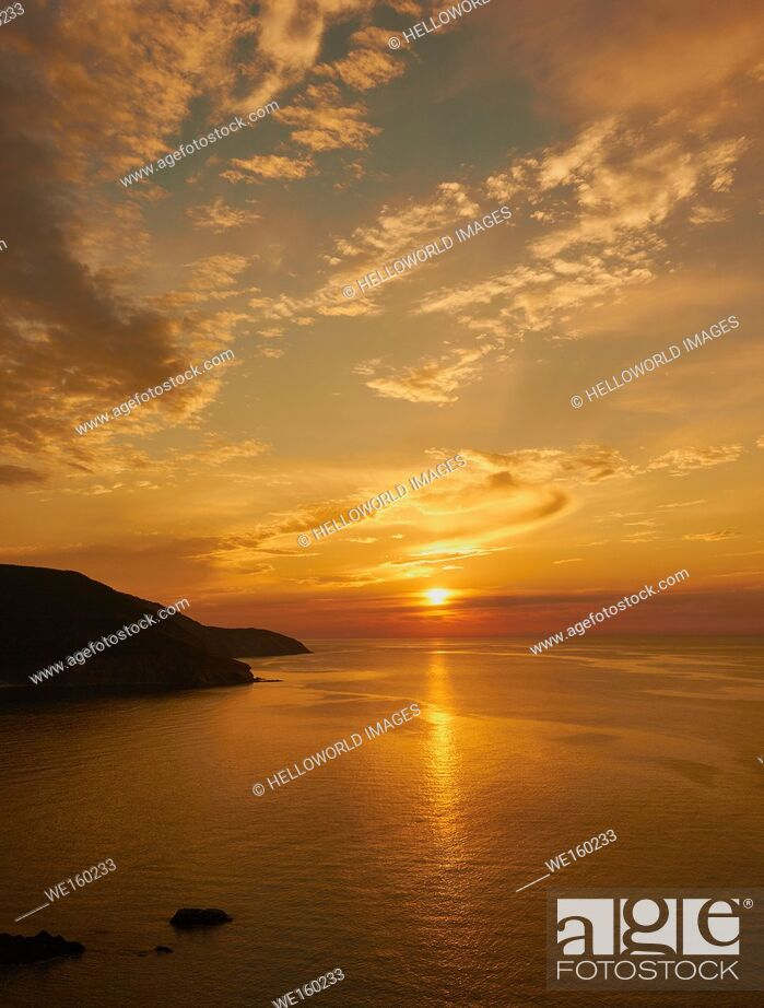 Stock Photo: Sunset over the coast of Cape Breton Island, Nova Scotia, Canada.