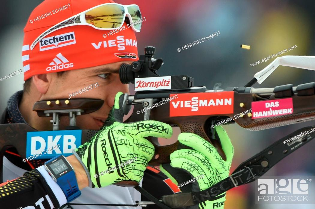 Stock Photo: Arnd Peiffer of Germany at the shooting range before the Men's 4x7.5 km relay competition at the Biathlon World Championships, in the Holmenkollen Ski Arena.