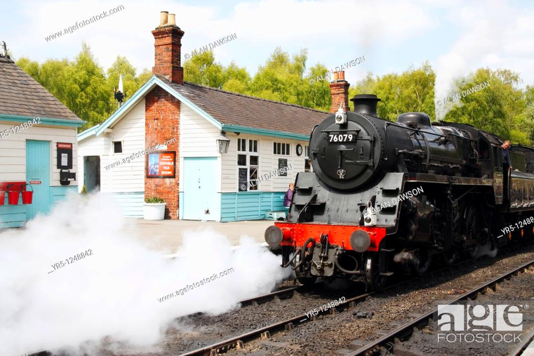 Stock Photo: Grosmont station on the North Yorkshire Moors Railway near Whitby, North Yorkshire, England, UK.