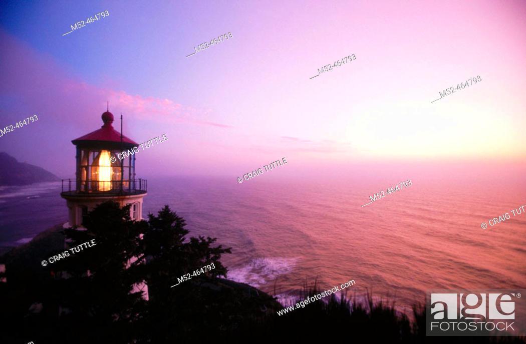 Stock Photo: Sunset at Heceta Head lighthouse. Oregon, USA.