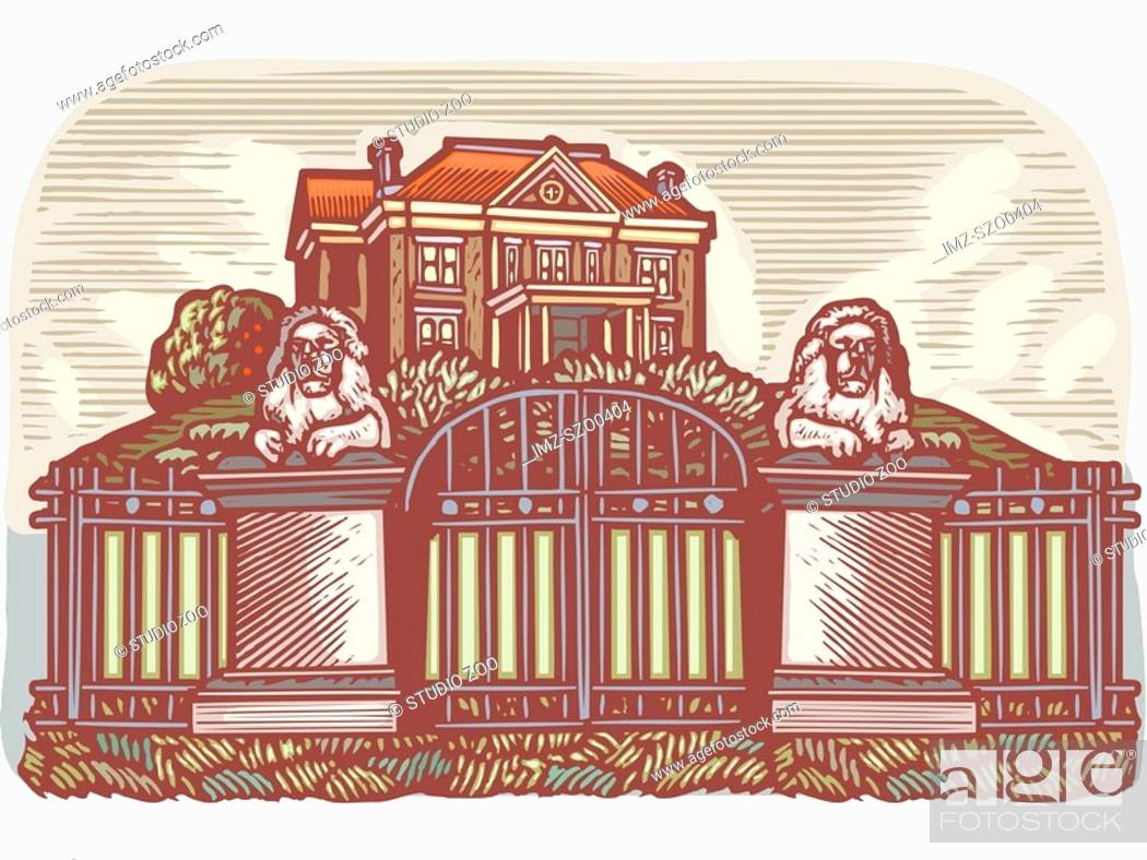 Stock Photo: Mansion on a hill with stone lions at the gate.