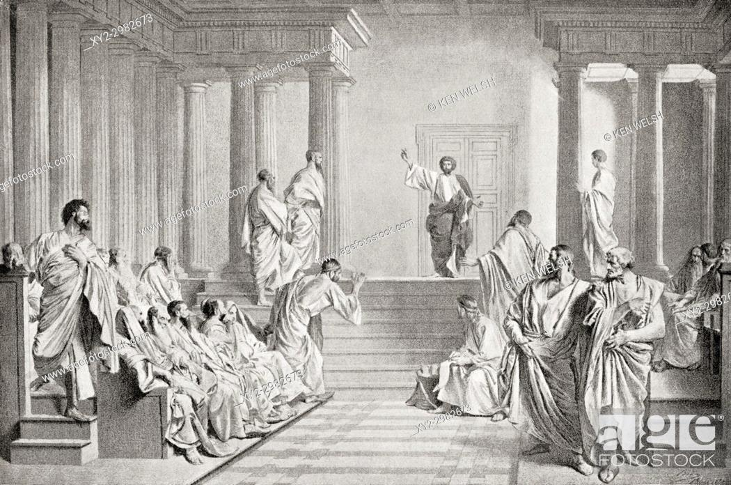 Stock Photo: Paul the Apostle, aka Saint Paul and Saul of Tarsus. Saint Paul delivering the Areopagus sermon in Athens, Greece. From Hutchinson's History of the Nations.