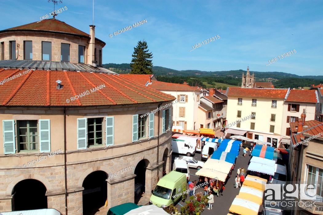 Stock Photo: France, Auvergne, Puy de Dome, Livradois Forez, Ambert village, city hall.