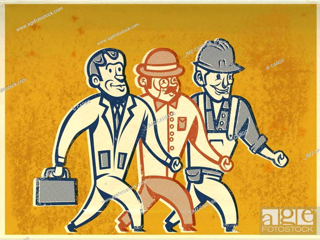 Stock Photo: Drawing of three men walking to work.