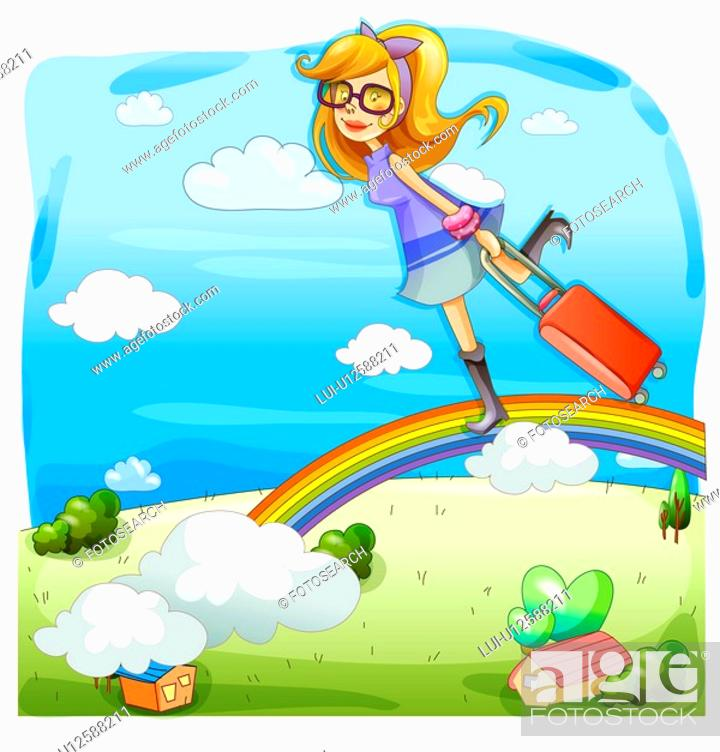 Stock Photo: person, nature, people, rainbow, country, trip.