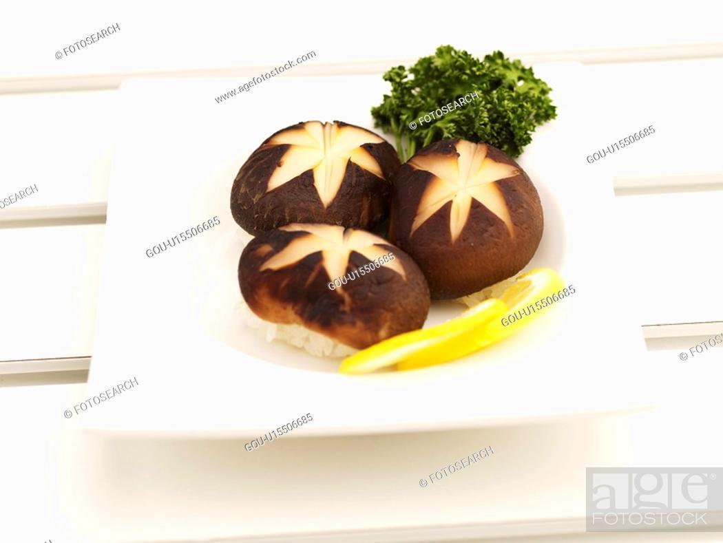 Stock Photo: lemon, plate, mushroom sushi, decoration, food styling, mushroom, sushi plate.