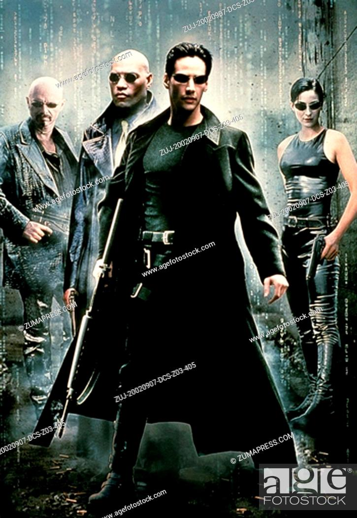 Stock Photo: Sep 07, 2002; Hollywood, CA, USA; Actors (l-r) JOE PANTOLIANO as Cypher, LAWRENCE FISHBURNE as Morpheus, KEANU REEVES as Neo and CARRIE-ANNE MOSS as Trinity in.