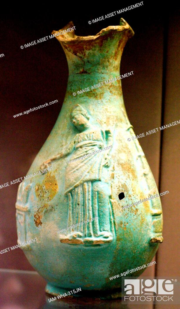 Stock Photo: Faience oinochoe (jug) showing Queen Arsinoe III of Egypt (221-203) Made in Egypt about 220-200 BC Said to be from Canoas, Italy.