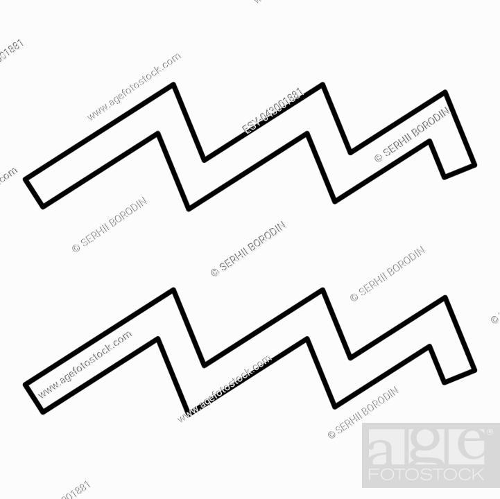 Vector: Aquarius symbol zodiac icon black color vector illustration flat style simple image.