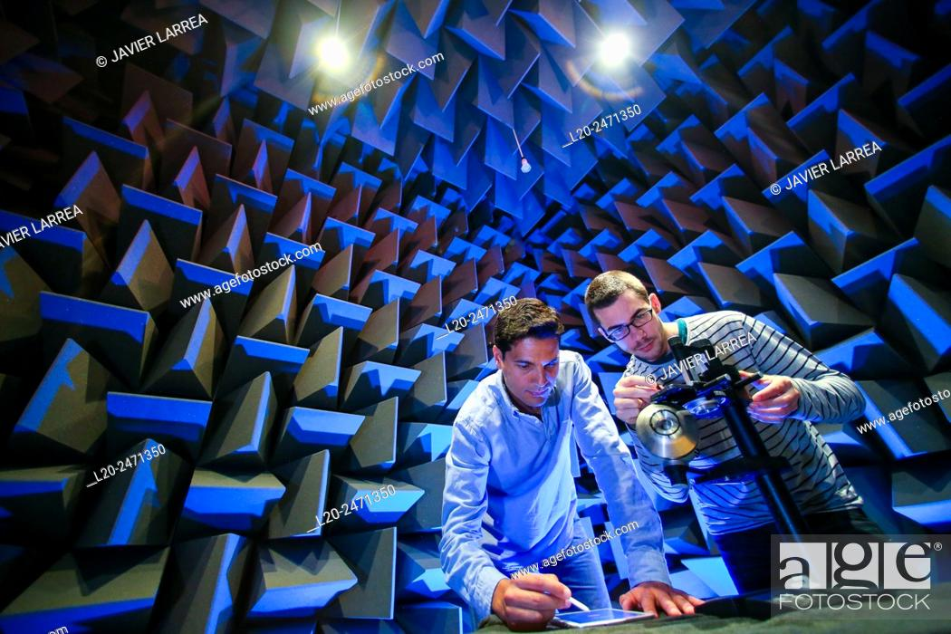 Stock Photo: Researchers. Acoustic chamber. EMC & Telecom Lab. Certification of Low Voltage Electrical & Electronic Products. Technological Services to Industry.
