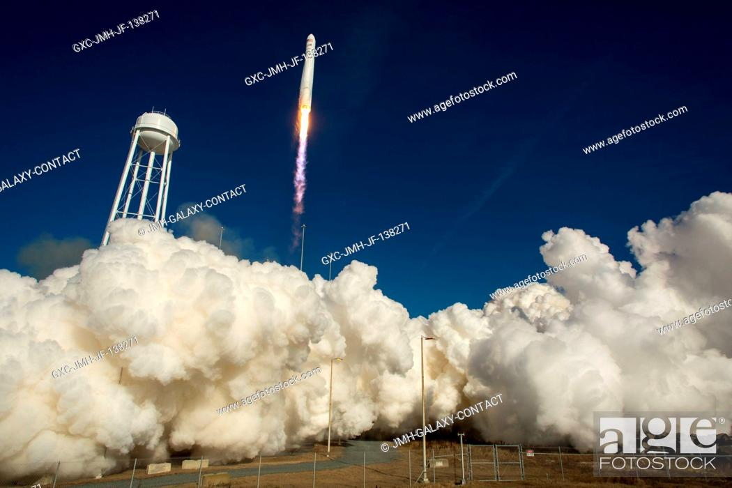Stock Photo: An Orbital Sciences Corporation Antares rocket is seen as it launches from Pad-0A at NASA's Wallops Flight Facility (Virginia) on Jan. 9, 2014.