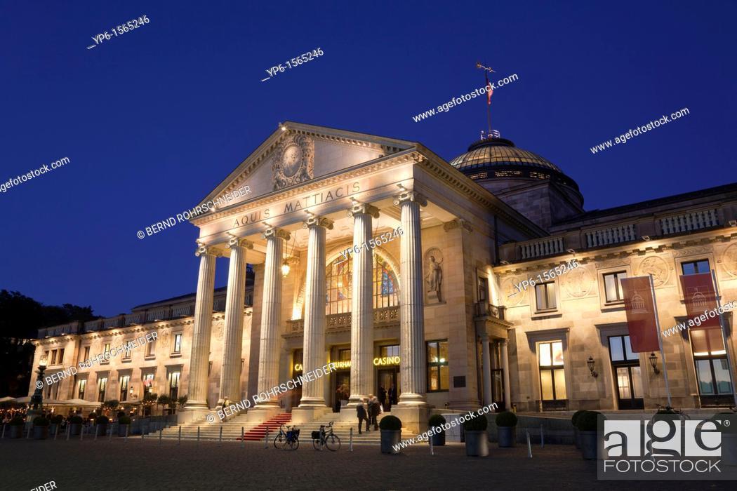 Stock Photo: Kurhaus illuminated at night, Wiesbaden, Hesse, Germany.