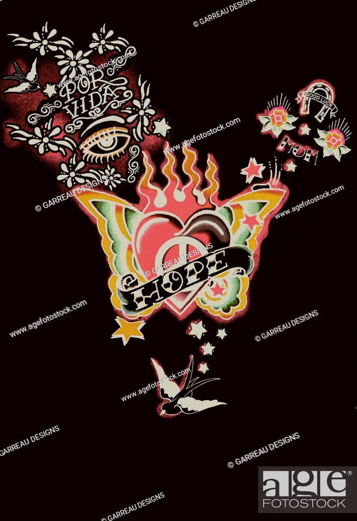 Imagen: Retro heart tattoo design.