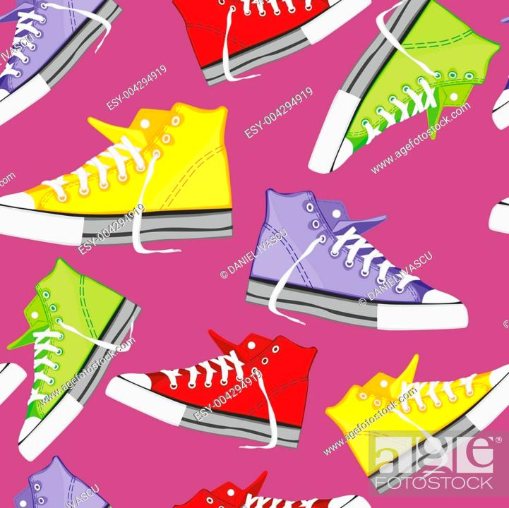 Stock Photo: seamless pattern isolated shoes.