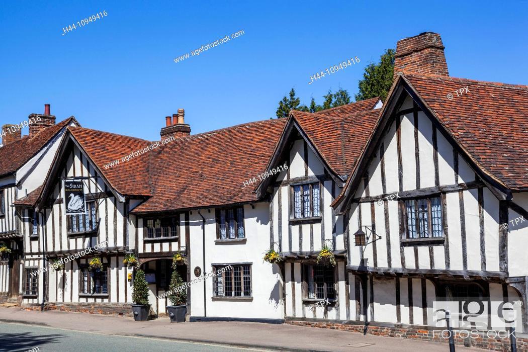 Stock Photo: United Kingdom, British Isles, Great Britain, Europe, Britain, England, Suffolk, Lavenham, Swan Hotel, Hotel, Hotels, Pub, Pubs, Historical, Gabled.