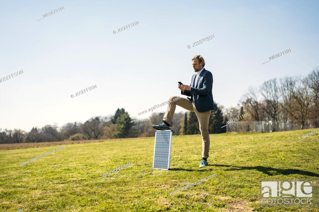 Stock Photo: Male professional using smart phone while standing with solar panel on grass at park against clear sky during sunny day.