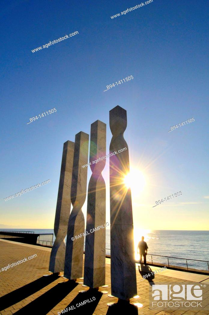 Stock Photo: Columns in the area of the W Barcelona hotel (also known as Vela Hotel), Port area, Barcelona, Catalonia, Spain.