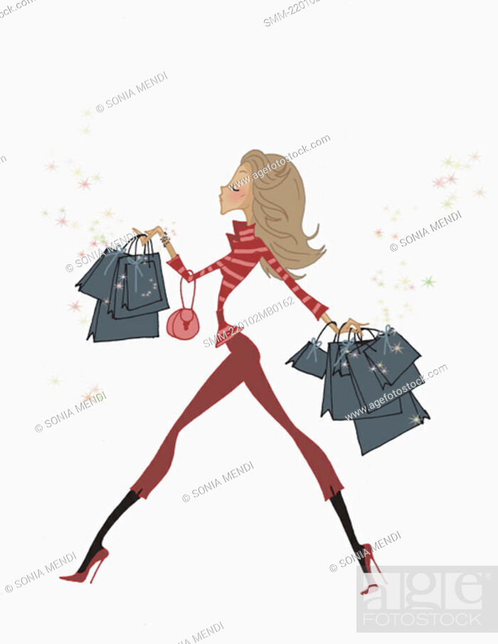 Stock Photo: Fashionable woman walking with many shopping bags.
