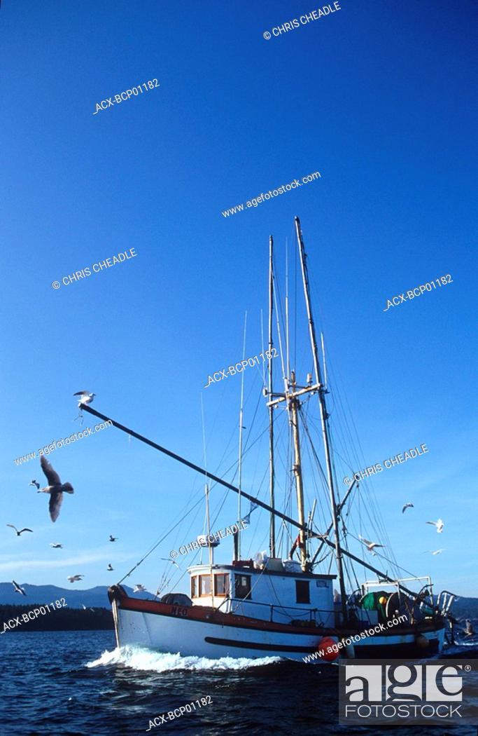 Stock Photo: commercial shrimper in Gulf Islands, British Columbia, Canada.