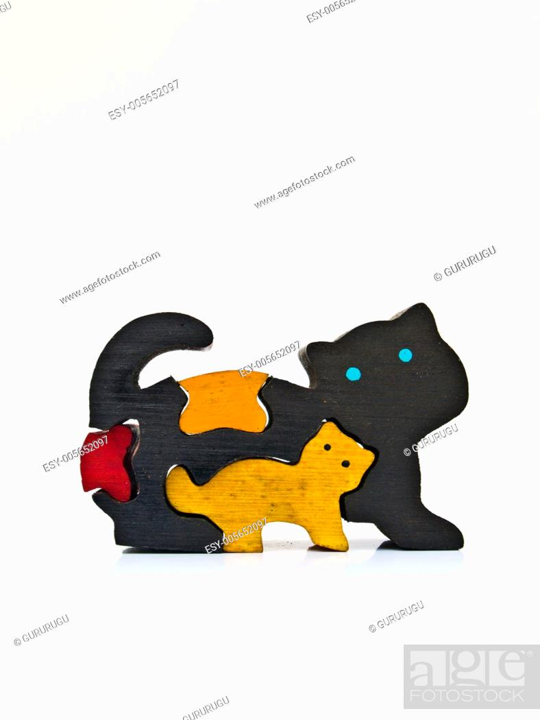 Stock Photo: A colorful miniature wooden cat model.