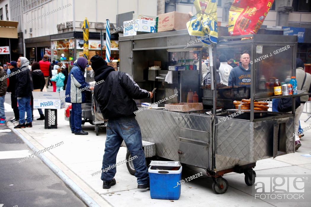 Stock Photo: New York City, food cart vendor , hot dog , manhattan.