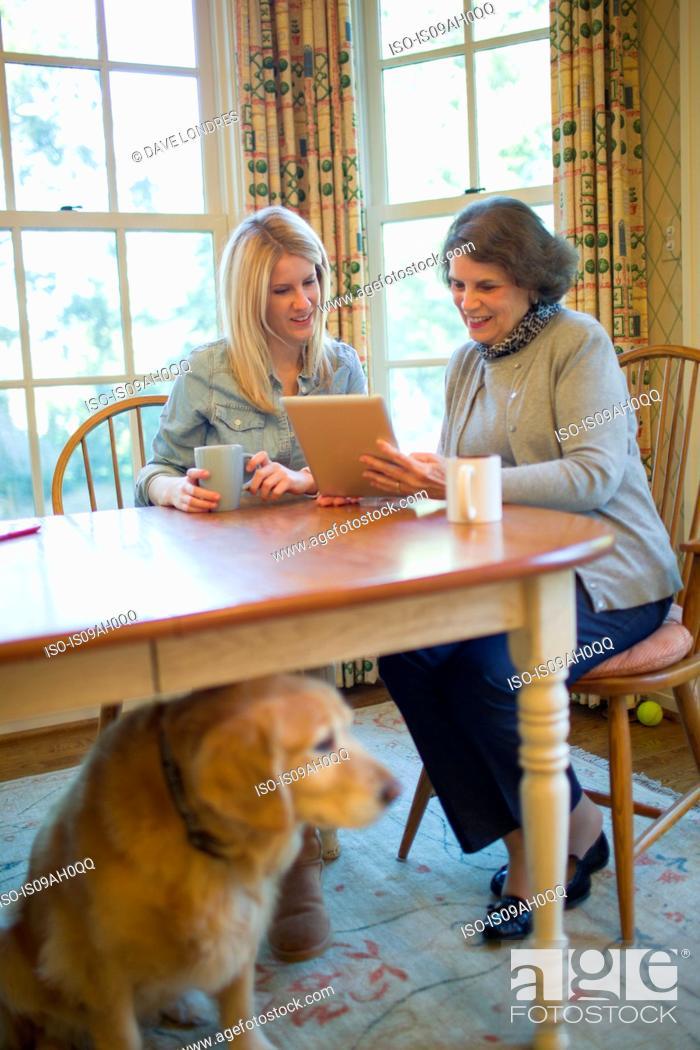 Stock Photo: Senior woman and granddaughter using digital tablet.
