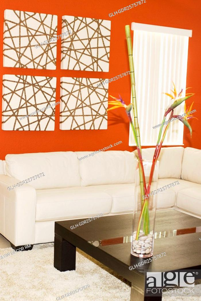 Photo de stock: Interiors of a living room.