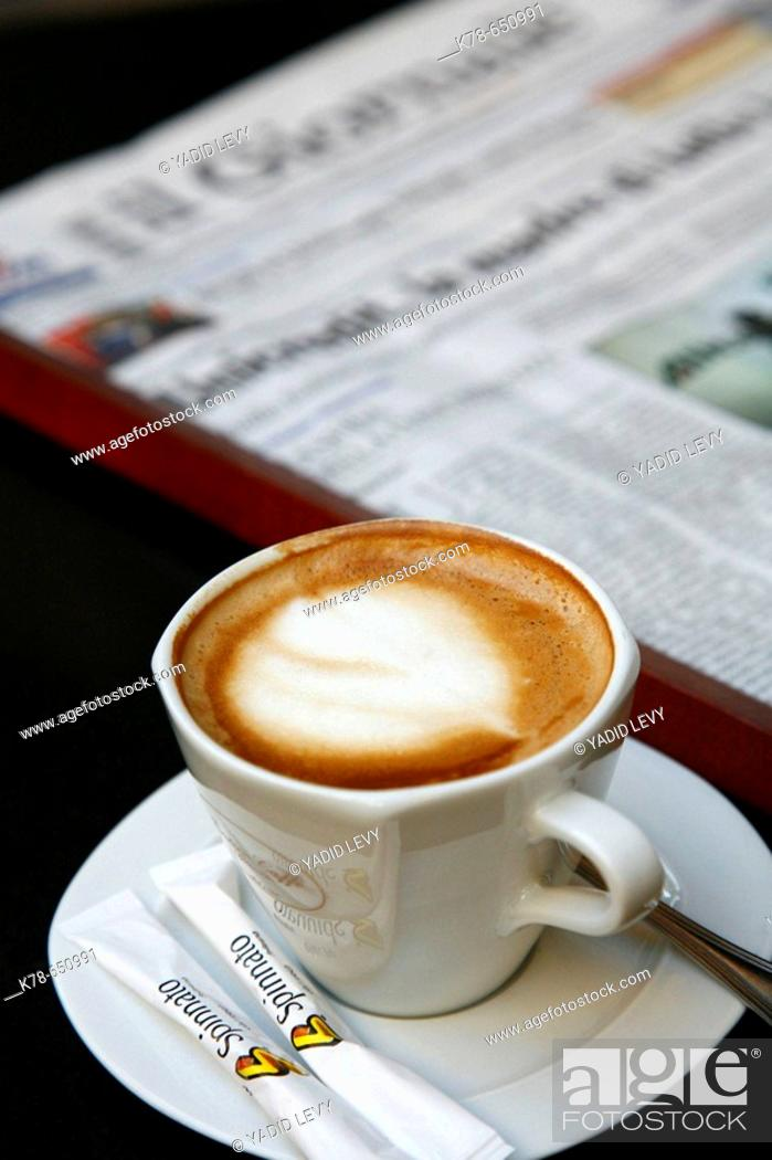 Stock Photo: Cappucino at Antico Cafe Spinnato in Palermo, Sicily, Italy.