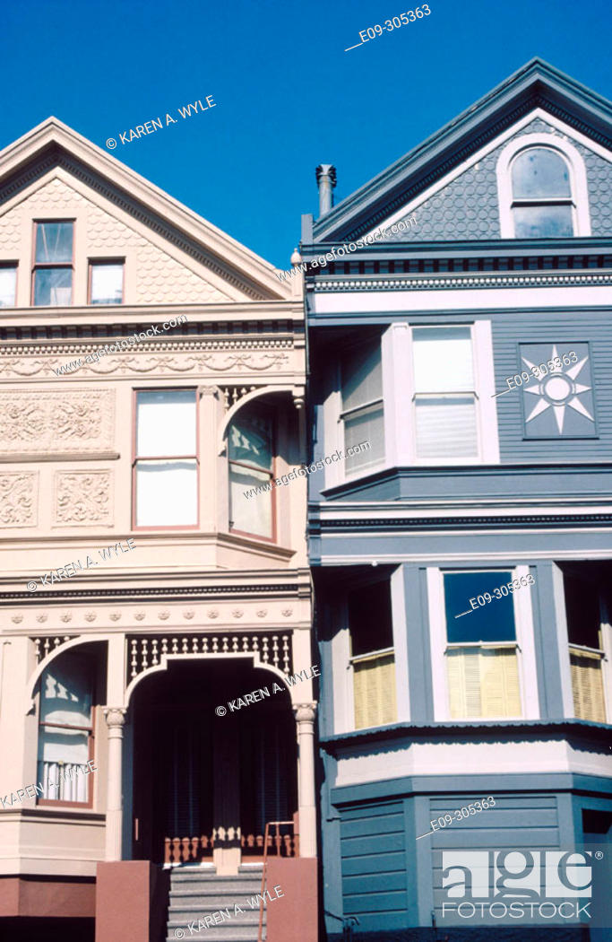 Stock Photo: Victorian houses close together, Hyde Street, San Francisco, California, USA.