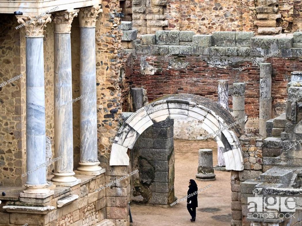 Stock Photo: Teatro romano - Ruinas de la ciudad romana de Emérita Augusta, Patrimonio de la Humanidad - Mérida - Provincia de Badajoz - Extremadura - España.